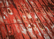 Old red steel metal panel roof. Abstract background or texture old red steel metal panel roof Stock Photo