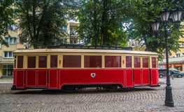 Free Old Red Streetcar On A Street In Slupsk Royalty Free Stock Photos - 159535118