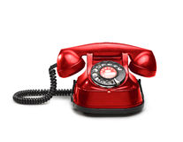 An old red telephon with rotary dial Royalty Free Stock Image