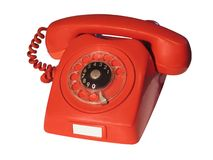 Old Red Telephone. Isolated On White Stock Photos