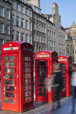 Old red telephone booths Royal mile street in Edinburgh Stock Photography