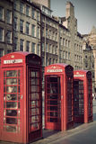 Old red telephone booths Royal mile street in Edinburgh Stock Images