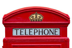 Old red telephone box with clipping path Royalty Free Stock Images