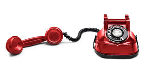 Old Red telephone () with shadow (clipping path) Royalty Free Stock Photos