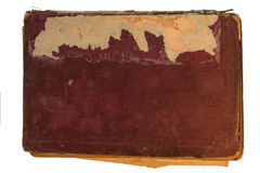 Old red textile cover of hand-written book isolated Stock Photography