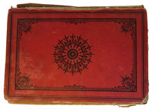 Old red textile cover of hand-written book isolated on white Royalty Free Stock Image