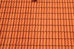 Old red tile roof. Stock Photo