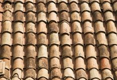 Old red tile roof background. Royalty Free Stock Photography