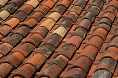 Old Red Tiled Roof. Old Tiled Terracotta Red Roof Royalty Free Stock Photography