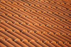 Old red tiles roof background, house roof.  royalty free stock photos