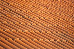Old red tiles roof background, house roof.  royalty free stock image