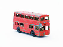 Old red toy bus Stock Photo