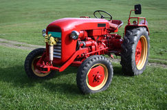 Old red tractor Stock Photo