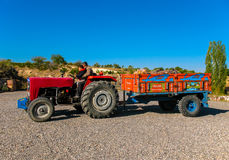 Old red tractor with trailer, Turkey Stock Photos