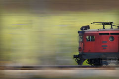 Old red train. High speed old red train in panning style royalty free stock photography