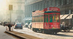 Old red tram from the company Azienda Trasporti Milanesi circula Royalty Free Stock Images