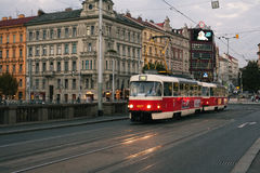 Old red tram in the evening Royalty Free Stock Photos