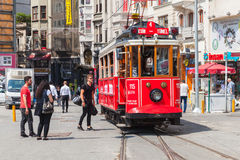 Old red tram goes on Istiklal street in Istanbul Royalty Free Stock Images