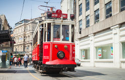 Old red tram goes on Istiklal street in Istanbul Royalty Free Stock Photo