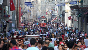 Old Red Tram on Istiklal Street Stock Photography