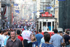 Old Red Tram on Istiklal Street Royalty Free Stock Photo