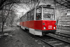 Old Red Tram Stock Photos