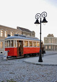 Old red tram and square replica. Replica of old downtown square with red tram,Belgrade,Serbia Stock Photos