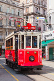 Old red tram on the street in Istanbul, vertical Royalty Free Stock Images