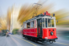 Old red tram at the street. Royalty Free Stock Images