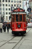 Red Trams of Istanbul,Turkey. Old Red Trams moving between Taksim Square and Tunel of Beyoglu District in Istanbul,Turkey royalty free stock photos