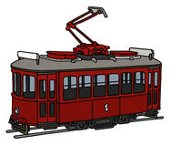 Old red tramway. Hand drawing of a classic dark red electric tramway Royalty Free Stock Images