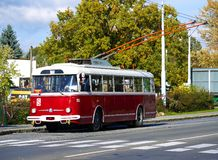 Old red trolley car Skoda 9Tr at the bus station Royalty Free Stock Images
