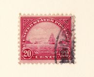 An old red usa postage stamp with an image of the golden gate straights in san francisco stock photography