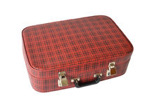 Old red valise in hutch. On white background Stock Photos