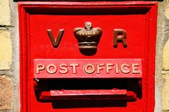 Old red Victorian post box. Old red VR Victorian post box, Severn Valley Railway, Arley, Worcestershire, England, UK, Western Europe Stock Image