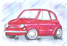 Old red vintage car italian - Fiat 500 Stock Photography