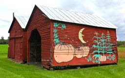 Old Red Virginia Barn With Autumn Painting Stock Images