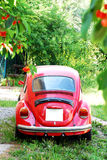 Old Red Volkswagen Beetle Car Stock Image