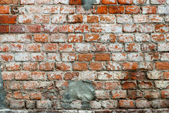 Old Red Wall with Bricklaying Stock Image