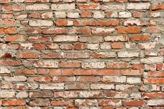 Old Red White Brick Wall Background. Retro BrickworkTexture Stock Image