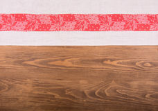 Old red and white patterned kitchen towel Royalty Free Stock Images