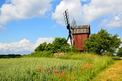 Old red windmill Stock Photos