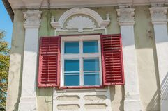 Old red window. Royalty Free Stock Photo