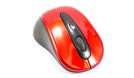 Old red wireless mouse Stock Photo