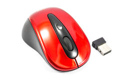 Old red wireless mouse Stock Photos