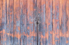 Old red wood door for background. Old red wood gte close with iron lock for background Stock Image