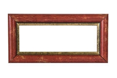 Old red wood photo frame on white background Royalty Free Stock Photo