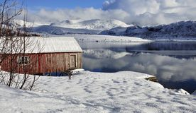 Old red Wooden Cabin In Northern Norway Royalty Free Stock Images