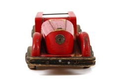 Old red wooden car toy Royalty Free Stock Photography