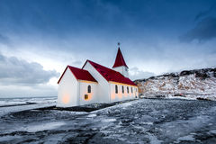 Old red wooden church in Iceland Stock Images
